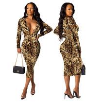 Sexy Midikleid mit tiefem V-Ausschnitt und Leopardenmuster und vollen Ärmeln
