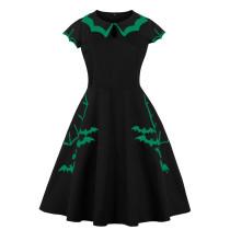 Schwarzes bedrucktes, kurzärmliges Vintage-Partykleid