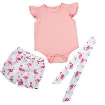 Conjunto de pantalones cortos estampados para niña con diadema