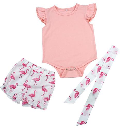 Set di pantaloncini con stampa bambina con fascia per capelli