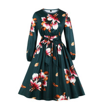 Floral Print Long Sleeve Skater Dress with Belt