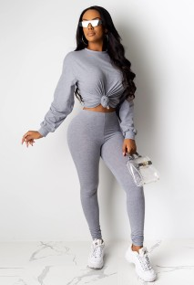 Plain Color Sexy Long Sleeves Knot Top and Tight Pants
