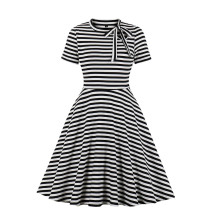 Stripes Print Vintage Skater Dress with Short Sleeves