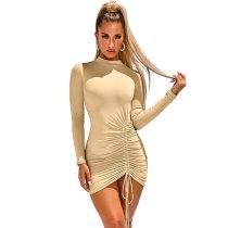 Sexy einfarbiges langärmliges Minikleid mit Rüschen
