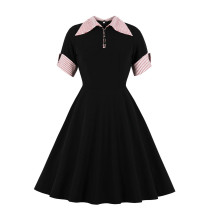 Black Vintage Skater Dress with Short Sleeves