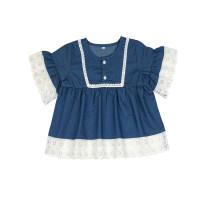 Vestido de mezclilla de encaje con patchwork para niña