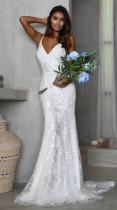 Weiße Blume Riemen Meerjungfrau Brautkleid