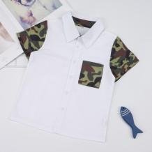 Camisa de verão infantil com estampado de menino Camou