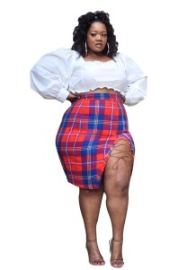 Plus Size White Pop Crop Top and Plaid Skirt