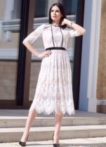 Weiße Spitze Elegantes, langes Kleid in A-Linie