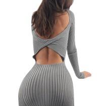 Sexy Ausgeschnittenes Strick-Midi-Kleid