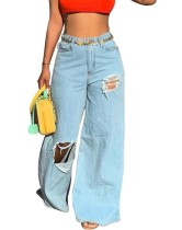 Hellblaue High Waist Bell Bottom Ripped Jeans