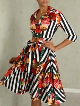 Stripes Print Floral Skater Dress