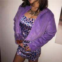 Purple Long Sleeves Short Plush Jacket