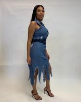 Ärmelloses Midi-Kleid in Jeansblau mit Schlitz