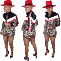 Chaqueta y pantalones cortos de manga larga con estampado de leopardo