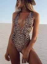 Eendelig zwempak met luipaardprint