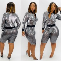 Sequins Silver Tight Short Set
