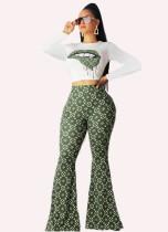 Print sexy lange mouwen crop top en bell legging