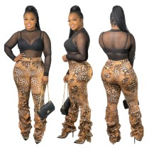 Pantalon taille haute sexy à imprimé léopard
