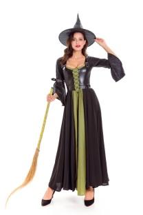 Fato de bruxa longa para mulher