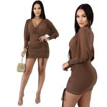 Mini vestido con pliegues y envuelto liso sexy
