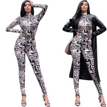 White and Black Print Long Sleeves Bodycon Jumpsuit