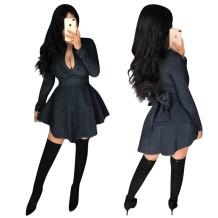 Denim preto mangas compridas vestido de skatista