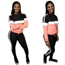 Contrast Long Sleeves O-Neck Sweat Suit