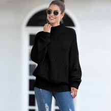 Plain High Neck Loose Sweater with Pop Sleeves