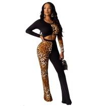 Укороченный топ с леопардовым принтом и брюки