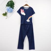 Conjunto de pijama de verano con estampado de niña para niños