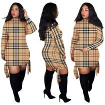 Plaid Print Long Sleeves Damaged Bodycon Dress