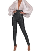 Sexy PVC-Leggings mit hoher Taille und Rüschen
