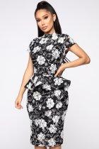 White and Black Flower Peplum Midi Dress