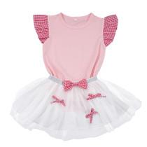 Camisa de volantes de verano para niña y falda de malla