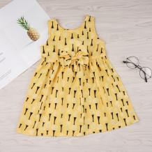 Kids Girl Print Yellow Princess Dress