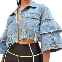 Blue Denim Short Tassels Jacket