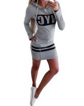 Print Long Sleeves Zipper Slit Hoody Kleid