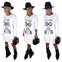 Langärmliges Hemdkleid mit O-Ausschnitt