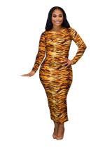 Print Wild Long Sleeves Midi Dress