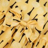 Vestido de princesa amarilla con estampado de niña para niños