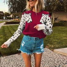 Print Leopard Pullover Short Sweaters