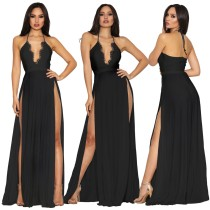 Sexy High Cut Long Halter Evening Dress