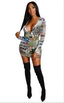 Mini-jurk met diepe V-mouwen en lange mouwen
