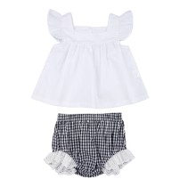 Baby Girl Sommer weiß und schwarz karierten Shorts Set