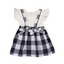 Camisa lisa de verano para niños y falda a cuadros