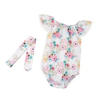 Baby Girl Summer Floral Rompers with Headband