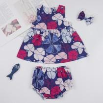 Baby Mädchen Sommer Floral Shorts Set mit Stirnband