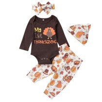 Baby Girl Autumn Print Pants Set with Hat and Headband